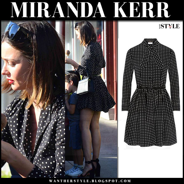 Miranda Kerr in black polka dot print mini dress saint laurent what she wore street style