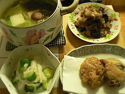 ナスと豚バラ味噌炒め 温野菜 サバ竜田揚げ 浅漬け
