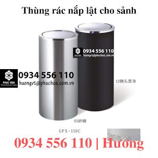 Thùng rác inox nắp lật GPX-110C
