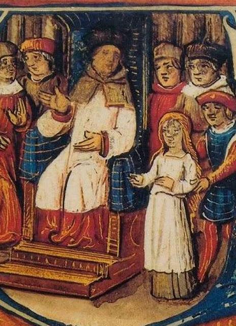 Santa Joana d'Arco: conduzida ao tribunal  presidido pelo bispo Cauchon