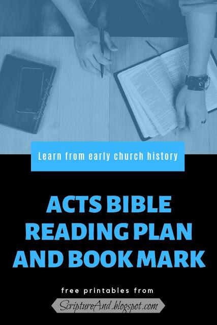 Acts Bible Reading Plan and Book Mark | scriptureand.blogspot.com
