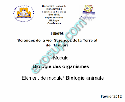 Cours Biologie des organismes Animaux svtu s2 fsbm