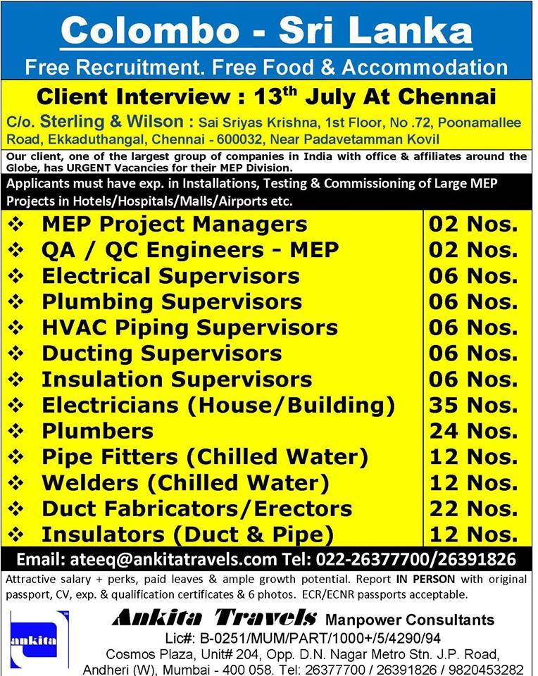 Free Recruitment for Colombo Sri Lanka