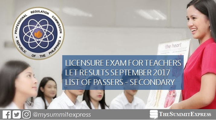 September 2017 LET Results Secondary passers list