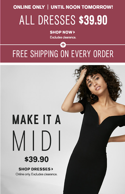 Express: All Dresses only $39.90 + Free Shipping on all Orders!