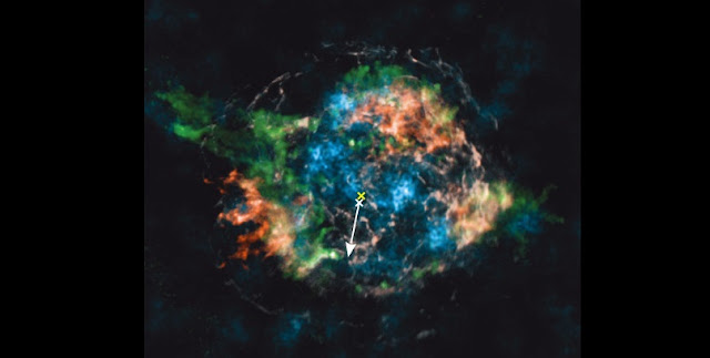 Observed distribution of 44Ti (blue) and iron (white, red) in Cassiopeia A. Copyright: Macmillan Publishers Ltd: Nature; from Grefenstette et al., Nature 506, 339 (2014); Fe distribution courtesy of U.~Hwang.