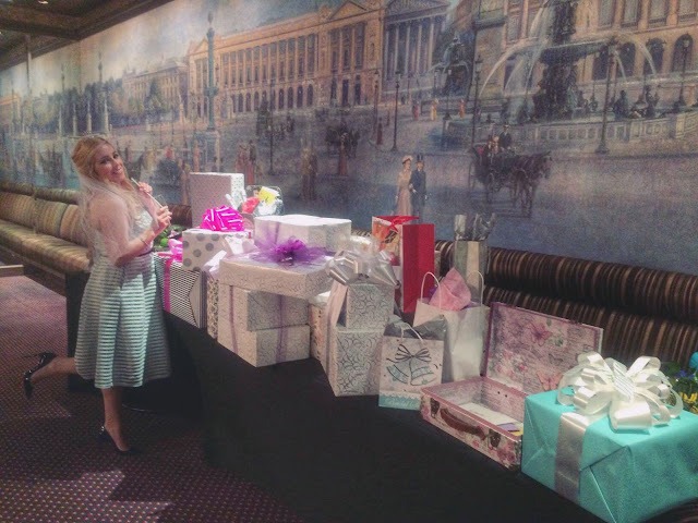 Parisian Breakfast at Tiffany's Bridal Shower - bride and presents