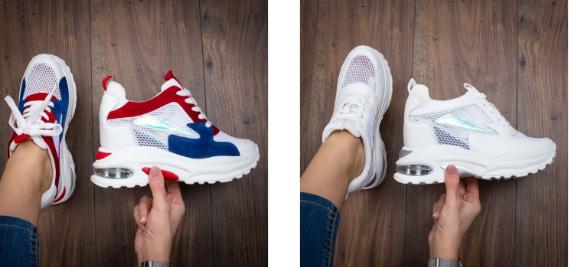 Sneakersi dama cu platforma ascunsa albi cu diferite culori  online ieftini