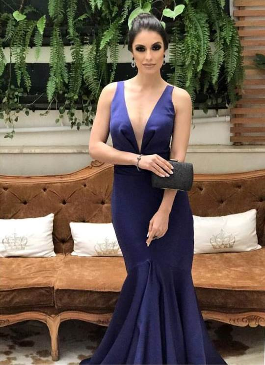 vestido de festa azul marinho para formatura ou madrinha