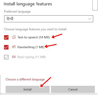 Tick text to speech handwriting and click install