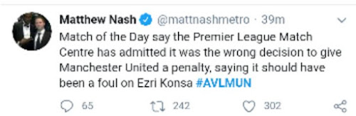 Chelsea and Arsenal fans react to VAR decision on Social Media for awarded a penalty that should have been a Red Card.