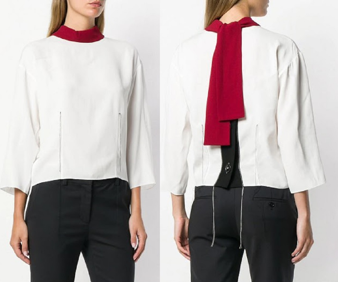 Queen Rania of Jordan wore white and red Marni Colour block blouse