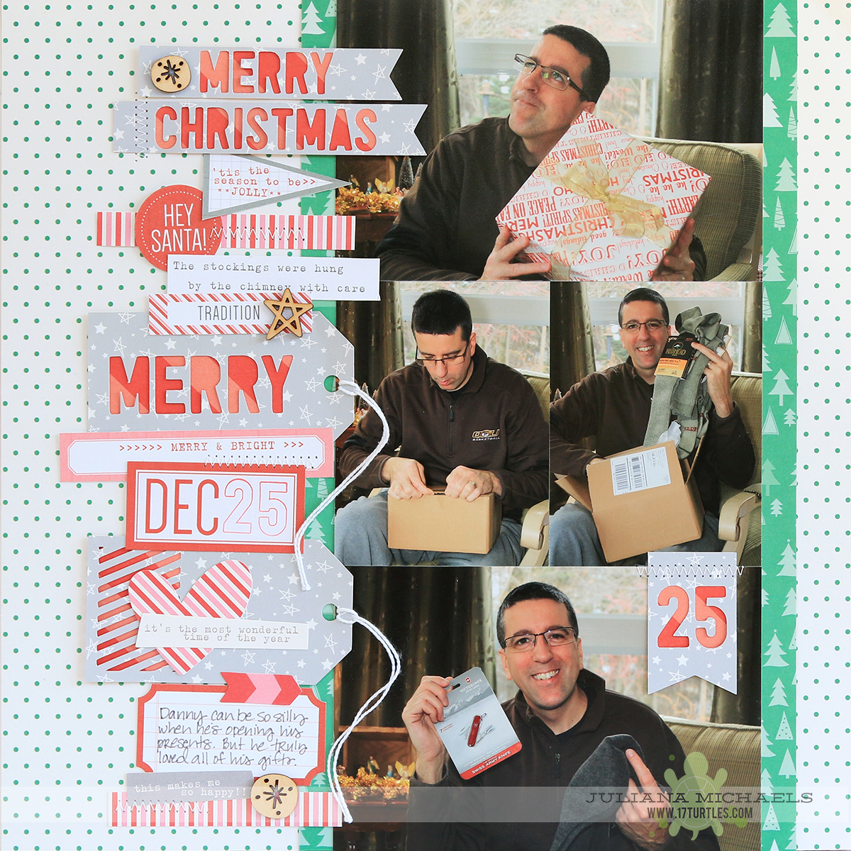 Merry Christmas Scrapbook Page by Juliana Michaels featuring Elle's Studio