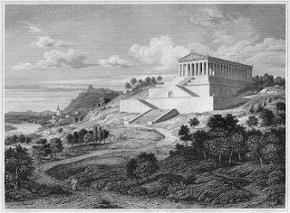 Dibujo del Monumento Walhalla de Donaustauf en 1840