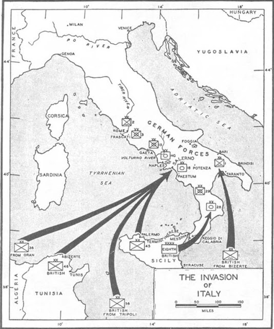 Map of the invasion of Italy in September 1943 worldwartwo.filminspector.com