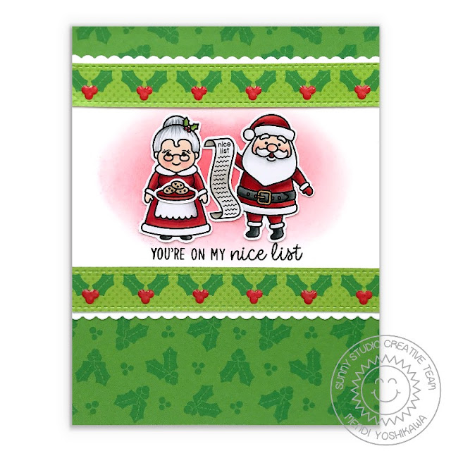 """Sunny Studio Blog: """"You're On My Nice List"""" Santa with Mrs. Claus Red & Green Holly Holiday Christmas Card (using North Pole Stamps, Slimline Basic Borders & Holiday Cheer Paper)"""