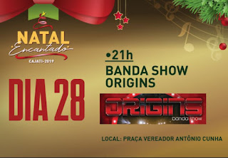 Sábado é dia da banda show Origins no Natal Encantado de Cajati