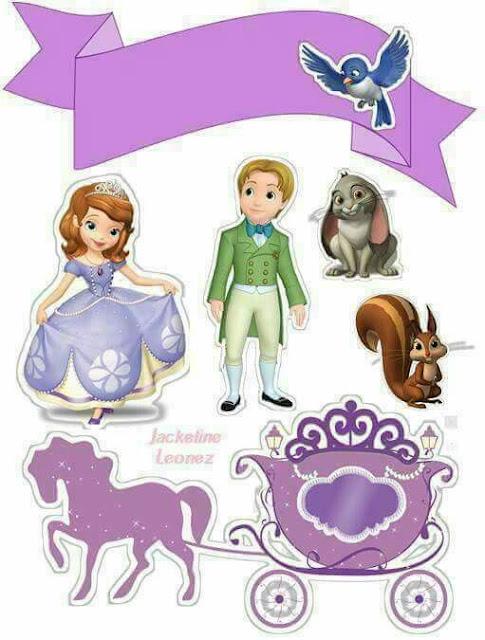 Cumpleaños de la Princesa Sofía: Toppers para Tartas, Tortas, Pasteles, Bizcochos o Cakes para Imprimir Gratis.