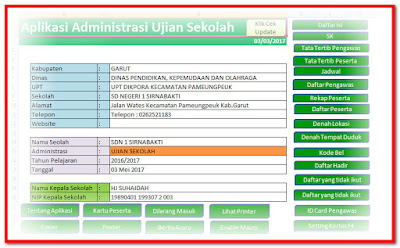 Aplikasi Administrasi Ujian Sekolah Format Excel.Xlsm