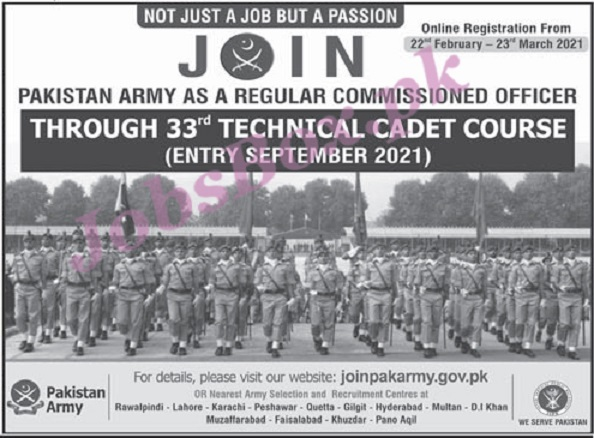 Join Pak Army Jobs 2021 – Commissioned Officer