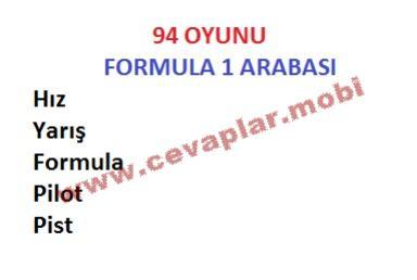 Formula 1 Arabası 94 Oyunu Cevapları