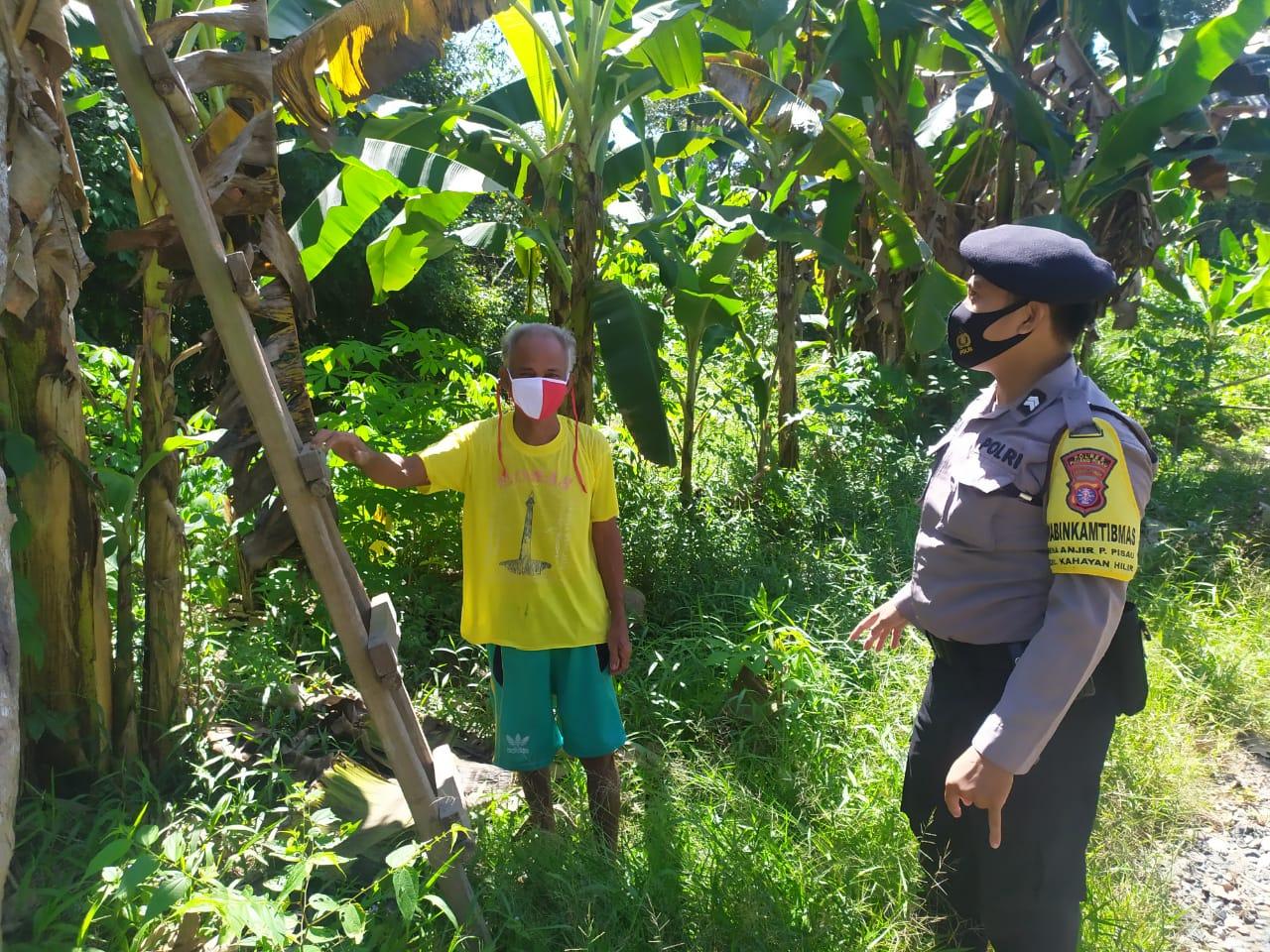 Lagi, Anggota Polsek Kahayan Hilir Laksanakan Patroli dan Beri Imbauan Cegah Karhutla