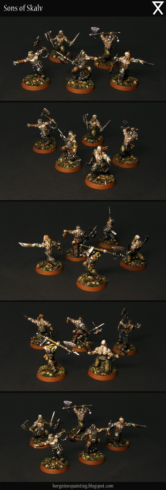 The whole Garrek's Reavers warband for Warhammer Underworlds: Shadespire together, 5 converted miniatures visible from several angles.