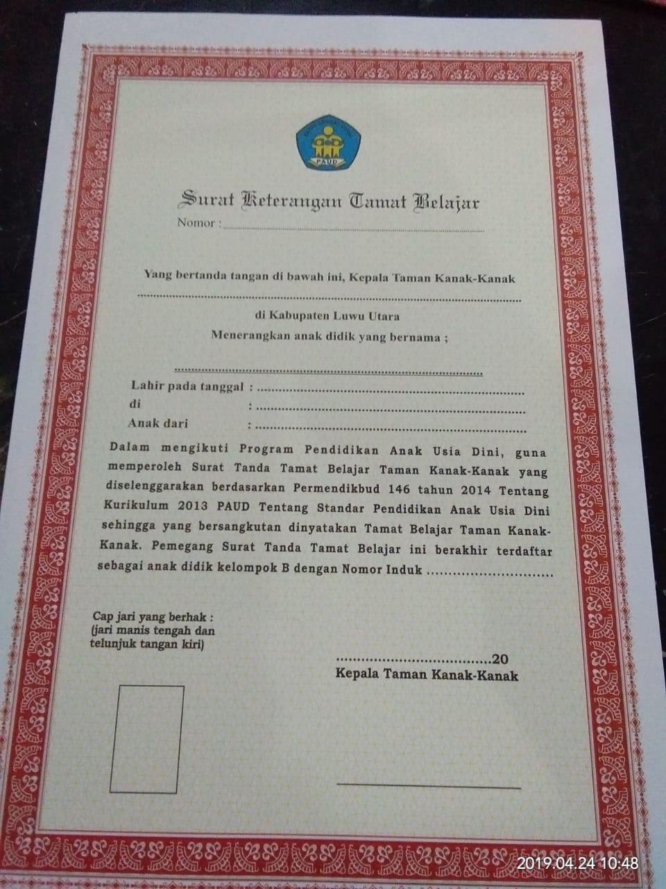 Contoh Ijazah Tk Serba Serbi Informasi