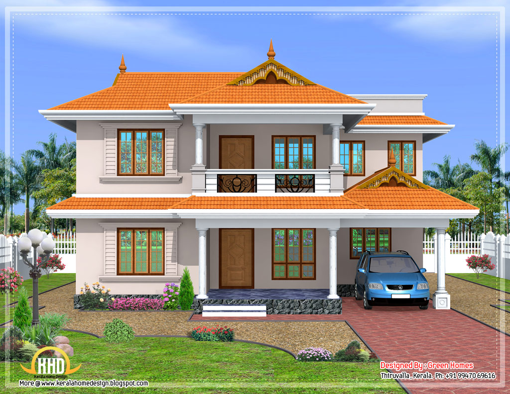 A nice kerala style sloped roof house 2350 sq ft for New model veedu photos