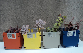 Macetas Diskettes Reciclaje