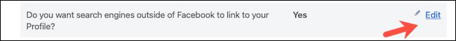 تحرير إعدادات محرك البحث على Facebook