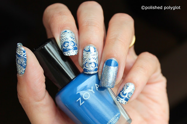 Blue and Silver stamping with embossed effect