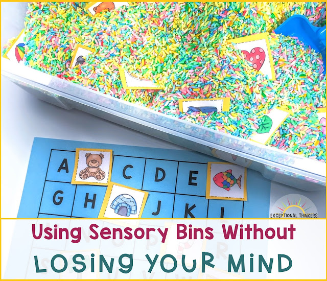 "Colorful rice sensory bin with abc activity with title ""Using Sensory Bins Without Losing Your Mind"""