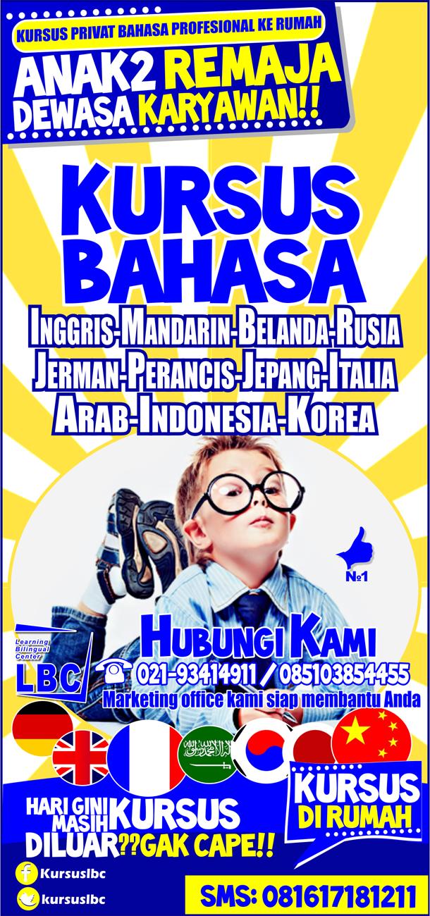 Brosur Kursus Bahasa Lbc Bagian Depan Kursus Bahasa Ke Rumah Lbc