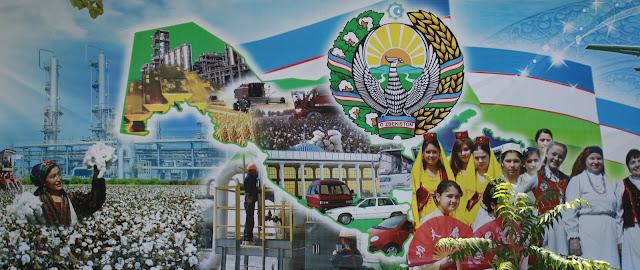 Ouzbékistan, Boukhara, Parc des Samanides, fresques, coton, © L. Gigout, 2010