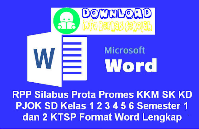 RPP Silabus Prota Promes KKM SK KD PJOK SD Kelas 1 2 3 4 5 6 Semester 1 dan 2 KTSP Berkarakter