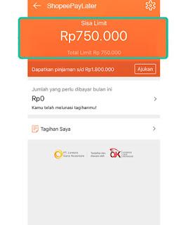 Limit Saldo Awal Pengguna ShopeePayLater