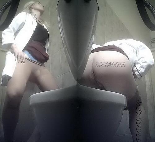 PissWC 210 (Spy camera in women toilet in the clinic. Hospital toilet nurses pissing)