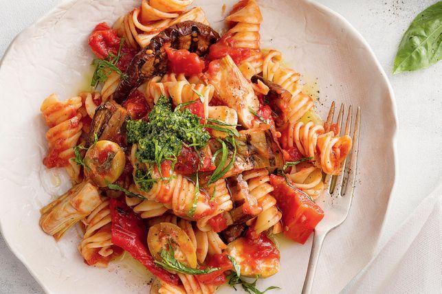Chargrilled Mediterranean vegetable pasta
