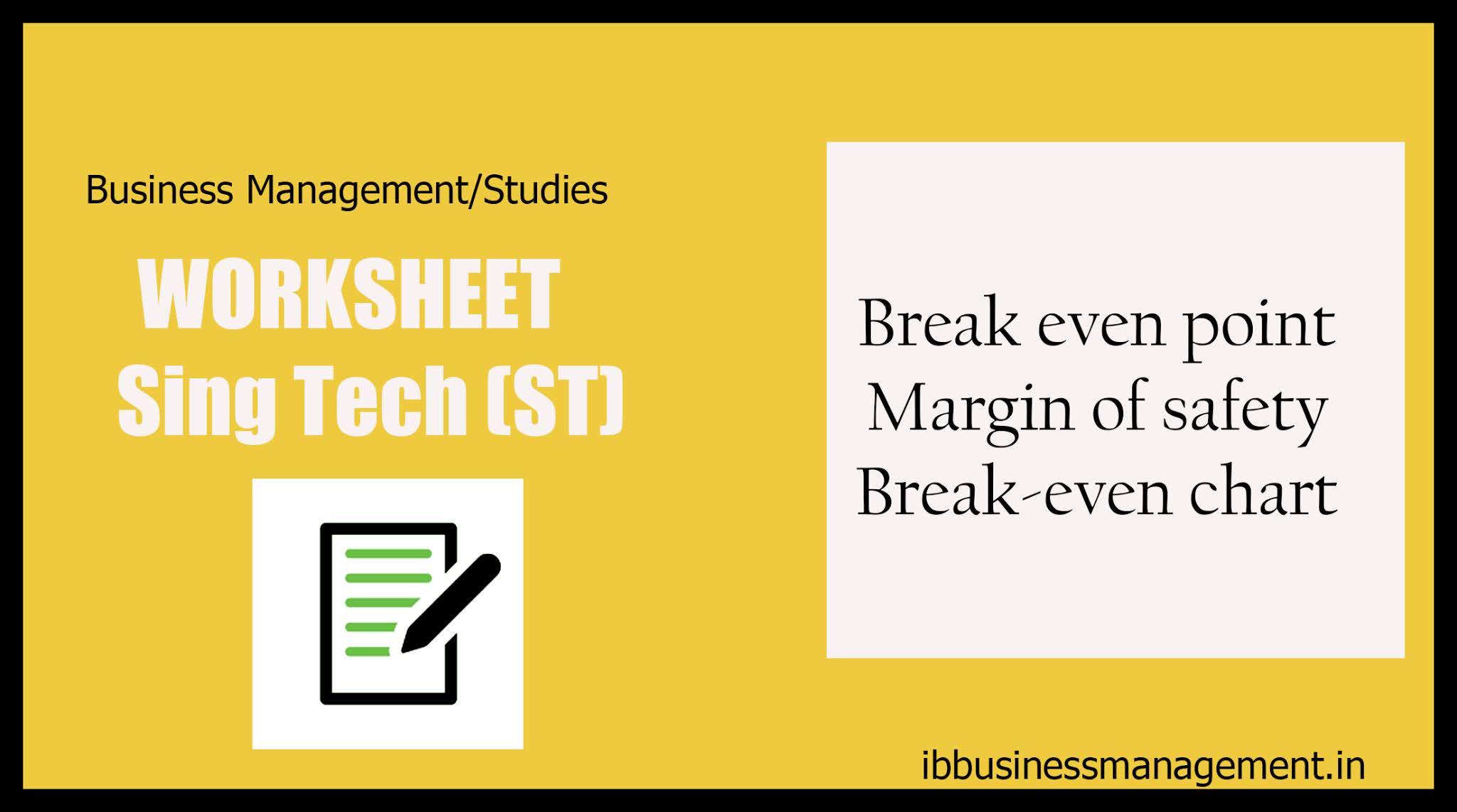 Accounts and Finance Work Sheet: Singh Tech