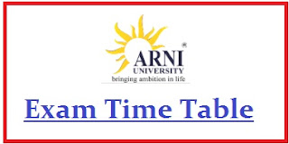 Arni University Exam Date Sheet 2020