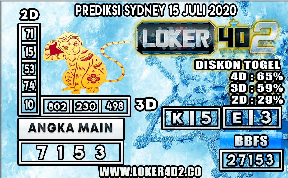 PREDIKSI TOGEL LOKER4D2 SYDNEY 15 JULI 2020