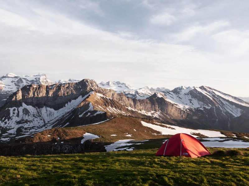 Download Camping on Icy Mountain Lighted by Sun Rays HD wallpaper. Click Visit page Button for More Images.