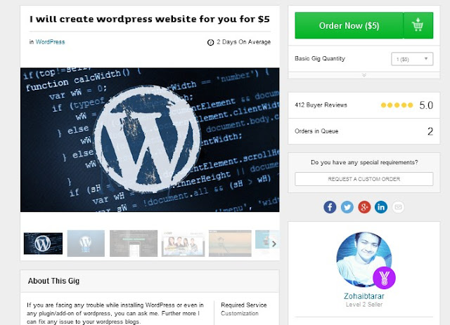 WordPress Fiverr GIG