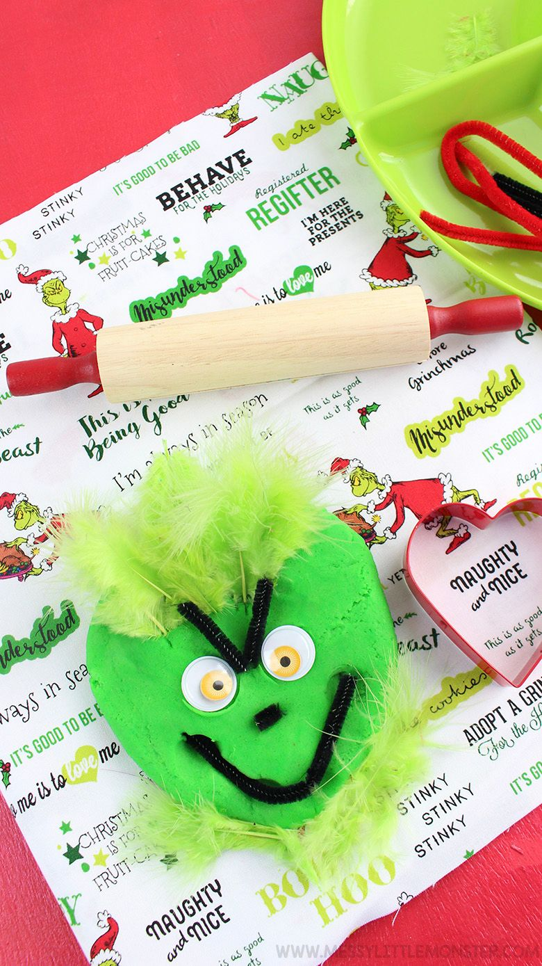 Grinch playdough recipe Christmas activity for kids