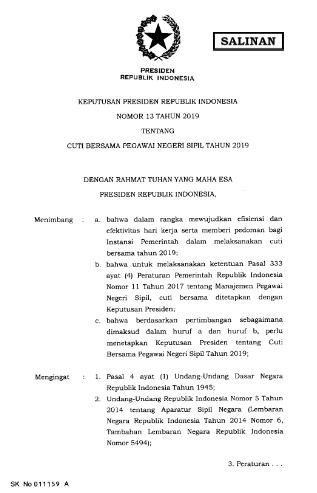 Keputusan Presiden (Keppres) Nomor 13 Tahun 2019 tentang Cuti Bersama Pegawai Negeri Sipil Tahun 2019