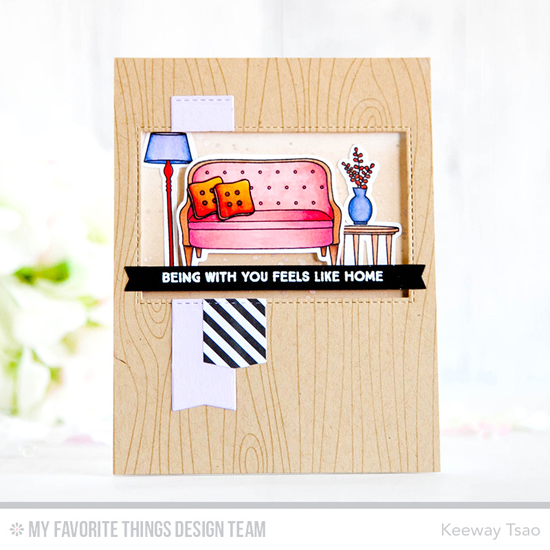 Handmade card from Keeway Tsao featuring Lisa Johnson Designs Make Yourself at Home stamp set and Die-namics, Whimsical Woodgrain Background stamp, Inside & Out Stitched Rectangle STAX and Blueprints 27 Die-namics #mftstamps