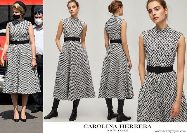 Queen Mathilde wore Carolina Herrera Houndstooth dress
