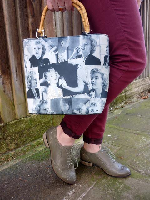 Marilyn Munroe Print Bag, Marsala Skinny Jeans, Brogues | Petite Silver Vixen
