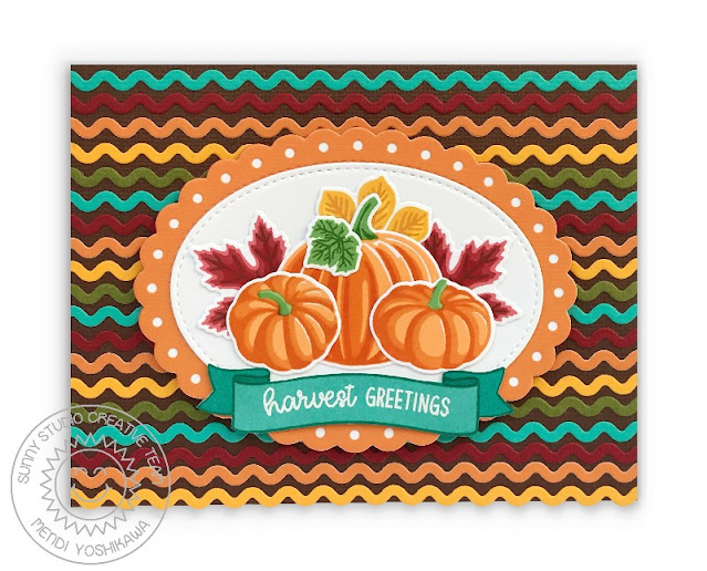 Sunny Studio Harvest Greetings Striped Layered Fall Pumpkins & Leaves Card (using Crisp Autumn Stamps, Scalloped Oval Mat 2, Stitched Oval Dies & Icing Border Dies))